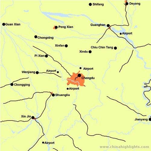 Chengdu Map, Chengdu City Map on