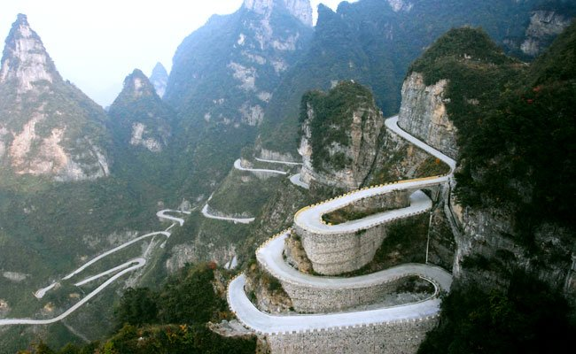 Amazing road to Tianzi Mountain