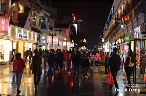 guilin walking street in night