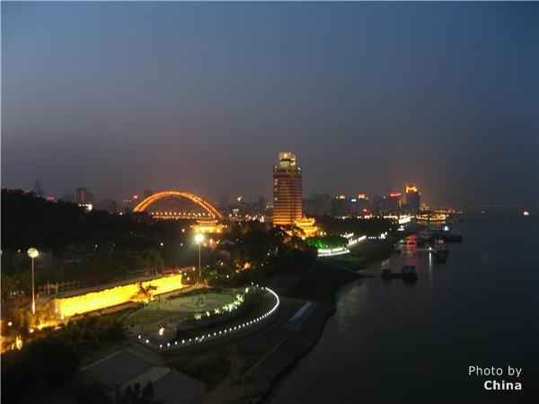 nightscape of Wuhan Yangtze River Bridge