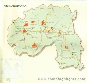 Xishuangbanna Area Map