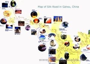 Zhangye silkroad Gansu map