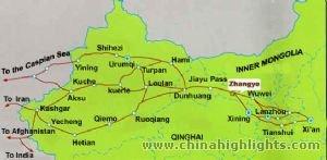 Zhangye silkroad map
