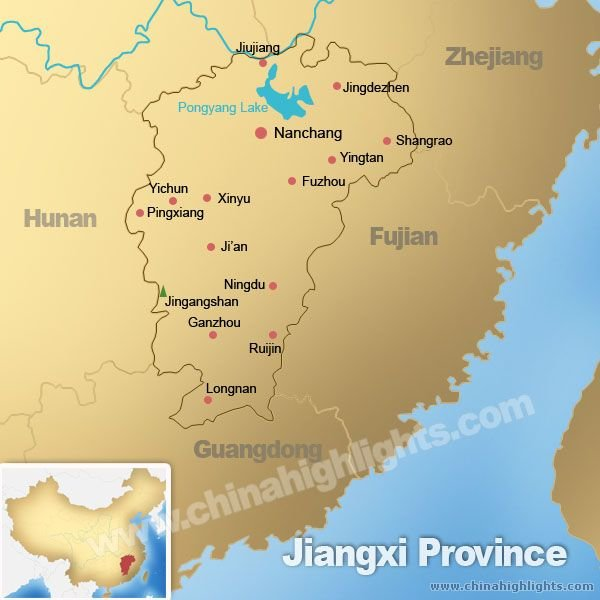 Map of Jiangxi