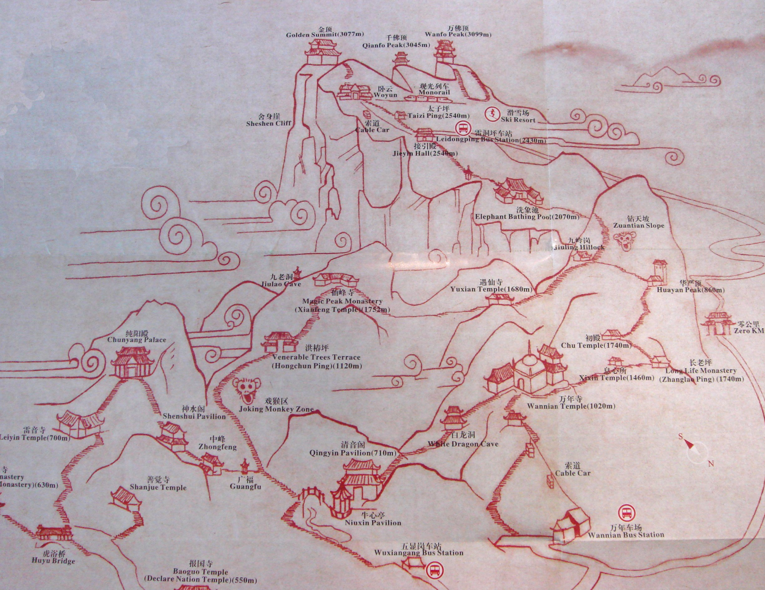 Map of Mount Emei