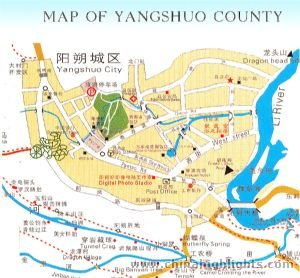Guilin of yangshuo map