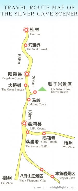 Guilin silver cave scener map