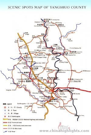 Guilin yangshuo scenic map