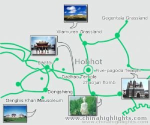 Hohhot Tourist Map