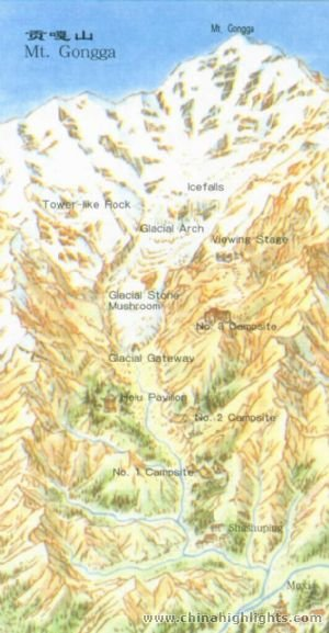 Mount Gongga Attraction Map