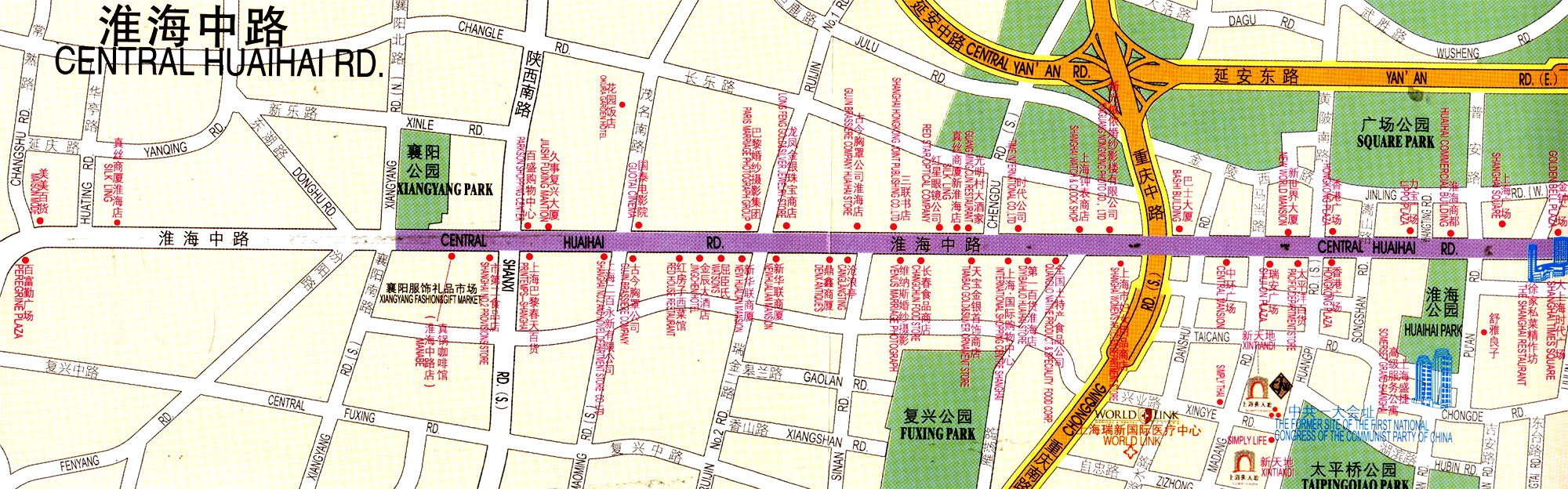 Map of Huaihai Road Shanghai