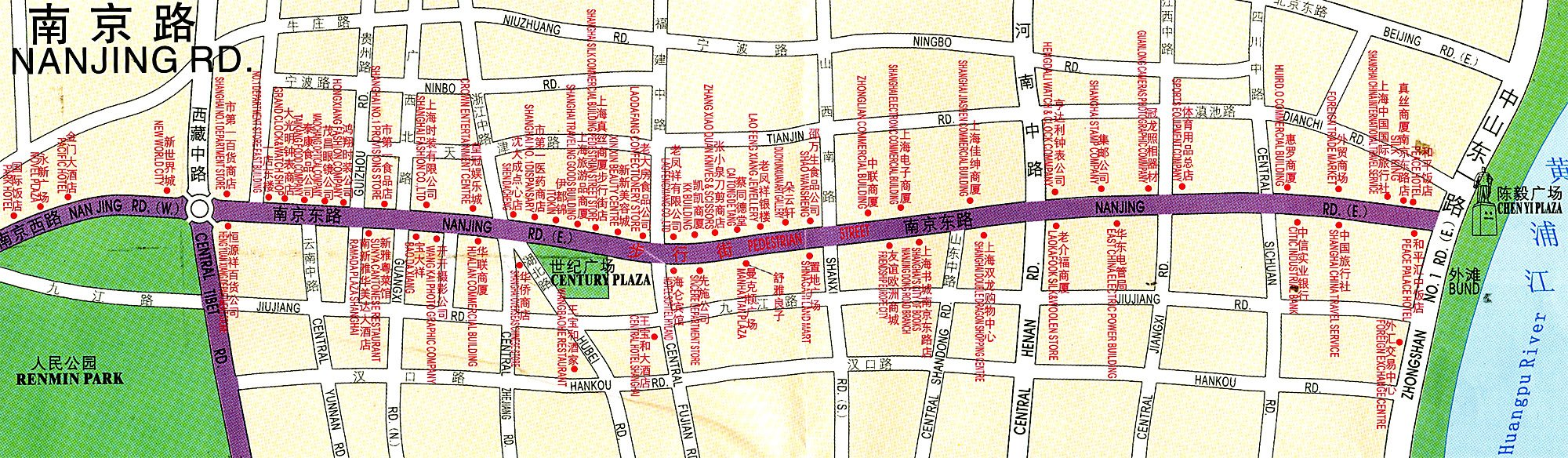Map of Nanjing Road Shanghai