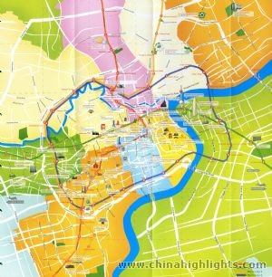 Tourist and Subway Map of Shanghai